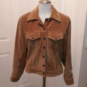 Roots tan suede Moto jacket size 10